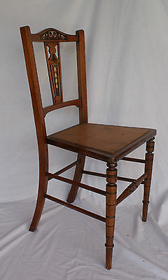 Antique Chairs Edwardian Wooden Inlaid Marquetry Pair Hand Painted Set Dining