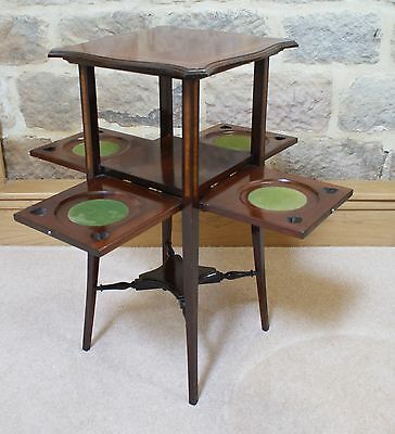 Antique Side Table Inlaid Mahogany Sweetheart Tapered Legs Fold Out Sides Rare