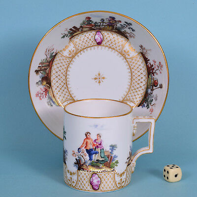 Vienna Style Large Coffee Can & Saucer, c1900