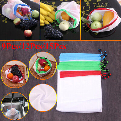 9x 15x Eco Friendly Reusable Mesh Produce Bags Superior Double-Stitched Strength