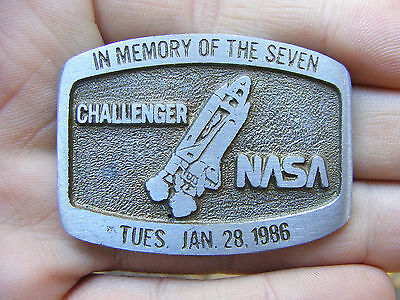 Vtg NASA Belt Buckle 1986 Space Shuttle Challenger Memory 7 Astronaut RARE VG+