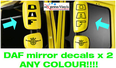 DAF mirror casing decals x 2 classic graphic stickers. ANY COLOUR!!! LF CF XF