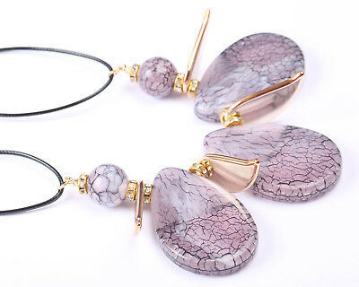 Gold Tone and Marbled Purple Acrylic Necklace
