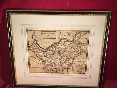 Vintage Original Map of Chesire  by Rob Mordon hand colored