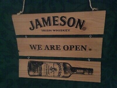 Jameson's Whisky Three Panel Wood Open/Closed Advertising Sign Good Used Cond.