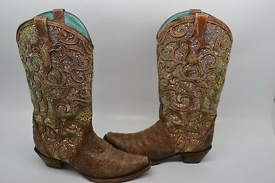 11bfa1879d43b CORRAL WOMEN'S WESTERN Cowgirl White Glitter Inlay Crystals Boots ...