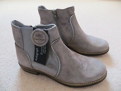 BNWT Girls Marks & Spencer Leather Grey Silver Zip Fasten Chelsea Boots Size 5