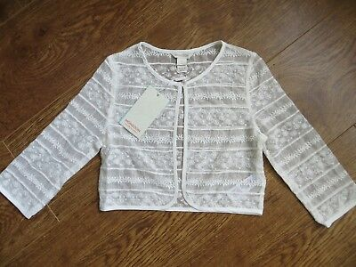 BNWT Girls Monsoon Ivory Floral Lace Detail Cropped Marta Jacket Age 7-8 yrs