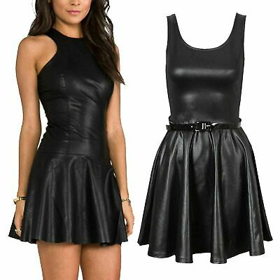 Ladies Women Girls PU PVC Leather Stretch Belted Flared Wet Look Black Skater Dr