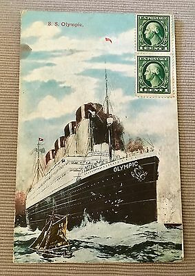 Olympic Color Postmarked Stamped White Star Line Titanic Britannic Sister Ship