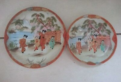 2 x Antique Vintage Chinese Japanese Asian Porcelain Plates Set Saucer Retro Red