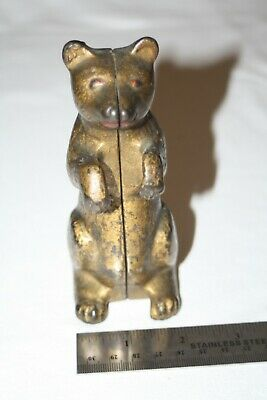 Vintage A C Williams Cast Iron Begging Bear Standing Bank 1920's Patina Gold