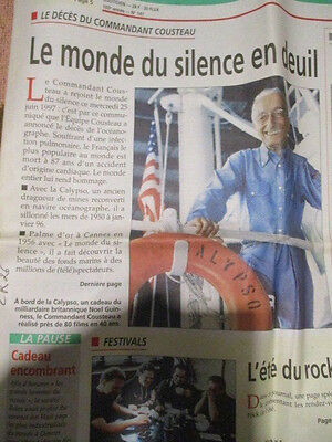 Journal Du Deces De : Commandant Cousteau 26/06/1997