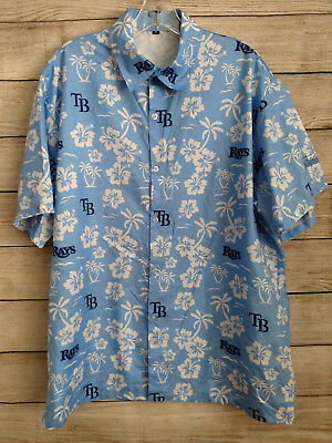 MLB Tampa Bay Rays Hawaiian Shirt Adult Sz Medium Blue Baseball Button Up Mens