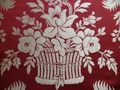 "Scalamandre ""readbourne Bouquet"" Silk Lampas, Scarlet Bty"
