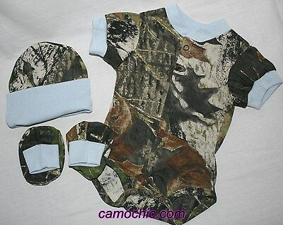 GIRL HAT /& BOOTIES SLEEPER MOSSY OAK CAMO BABY INFANT SNAP UP LACE GIFT SET