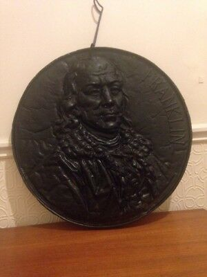Large cast iron antique Benjamin Franklyn franklin  wall plaque pub library