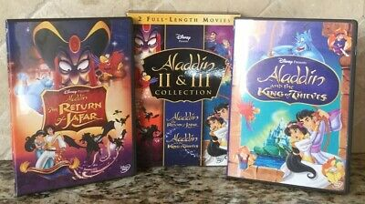 👀 L@@K❗️DISNEY ALADDIN II & III Box Collection w/ Bonus Features NOT A SCRATCH!