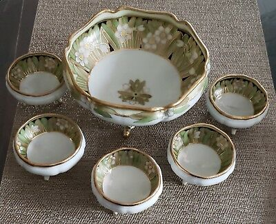 Exquisite Antique Nippon Floral Gold Encrusted Footed Nut Bowl Set
