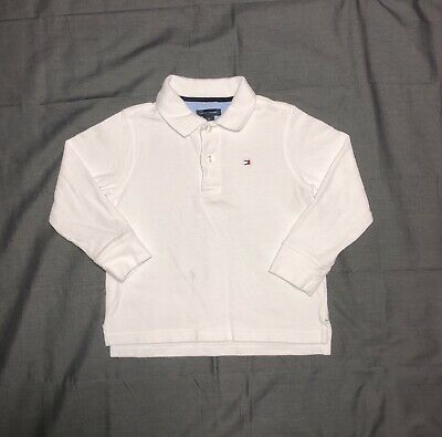 Boys Tommy Hilfiger Long Sleeve Polo Shirt 3T White Solid w/ Measurements