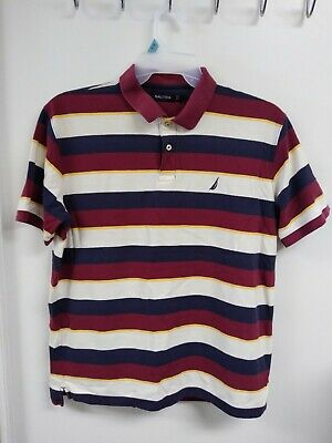 c896d0bdde7 NAUTICA MENS POLO Shirt Size Large L Dark Blue Multicolor NWT ...