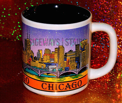 VINTAGE CHICAGO SKYLINE MUG colorful night diamond building sears tower 90s rare