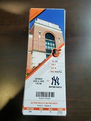 Judge 2 HR - Baltimore Orioles Yankees MINT Season Ticket 4/6/19 2019 MLB Stub