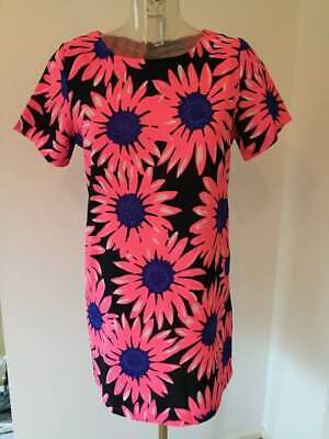 efa014cba18 Cameo Rose New Look Pink Blue Black Daisy Floral Neon Tunic Summer Dress 12  UK