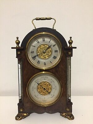 Rare Antique French Rosewood Clock With Barometer And Two Thermometer. C1890