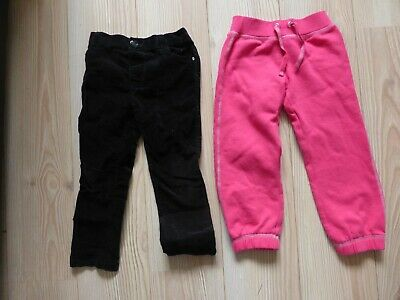 Girls 3-4 year old black Suede TROUSERS and pink JOGGING BOTTOMS Marks & Spencer