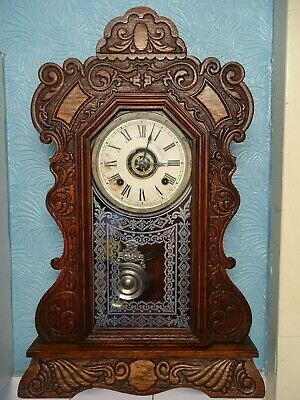Antique Ansonia Clock Co. New York Carved Wood Pendulum Wall Clock  Gingerbread