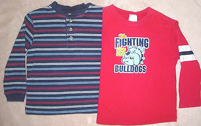 Lot of 2 size 4T long sleeve shirts-blue stripe by TKS & KID CONNECTION Bulldogs