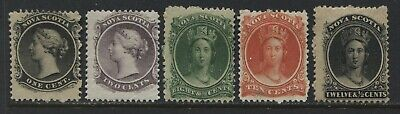 Nova Scotia 1860 various values 1 cent to 12 1/2 cents mint o.g.