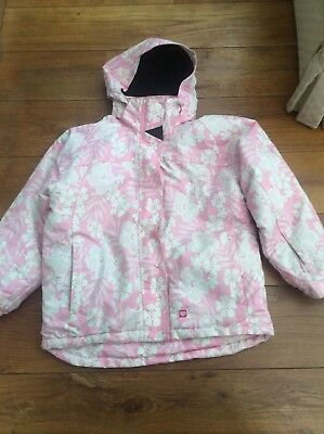 Tog24 pink white floral jacket snow boarding age 9 10 years wind rain