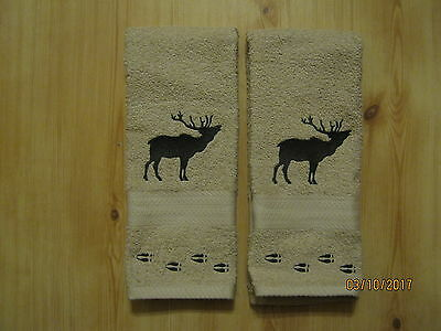 Scandinavian Northwoods Nordic Moose Embroidered Creme Towel #FT52CRM