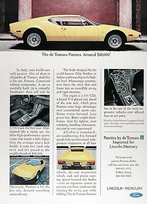 1973 de TOMASO PANTERA Genuine Vintage Advertisement ~ 351 CID V-8