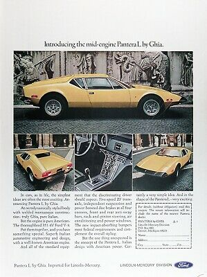 1973 de TOMASO PANTERA L Genuine Vintage Advertisement ~ 351 4-V CID V-8
