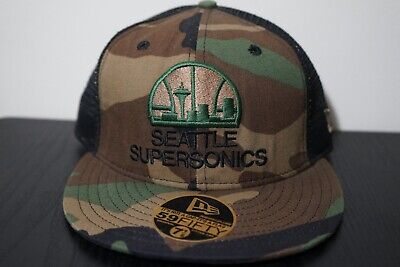 9179c219 Seattle Supersonics Army Fatigue New Era Part Mesh Fitted Cap/Hat (Size 7 1