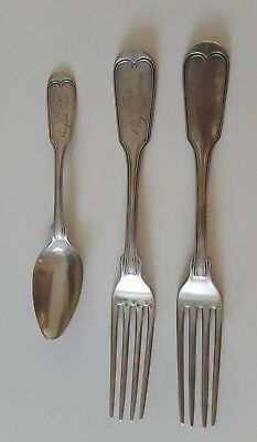 Coin Silver Forks & Spoon Engraved 'Ship' or 'Phip' Confederation JD CHASE