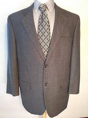 Jack Victor Prossimo Mens Gray Houndstooth Wool Sport Coat 2 Btn Stuartwood 44R