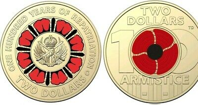 2019 $2 100 years of repatriation and 2018 Armistice RED COLOURED COIN UNC.Rare.