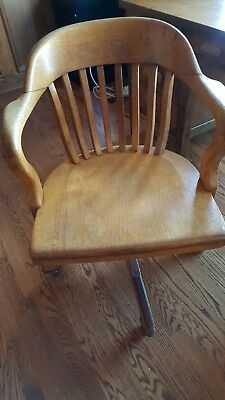 Antique Sikes Bankers Chair Quartered Oak, Swivel, Tilt, Adjustable, Armed