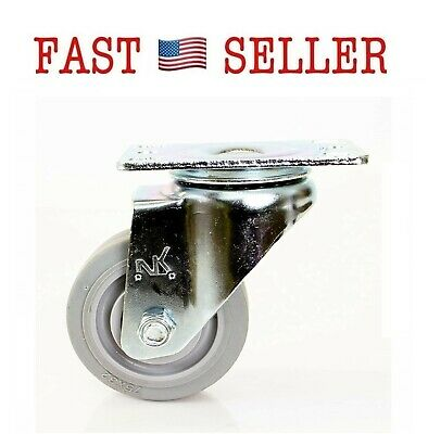 NK CTPR3SS Swivel Plate Caster with Non Marking Soft Gray Rubber TPR Wheel FAST!