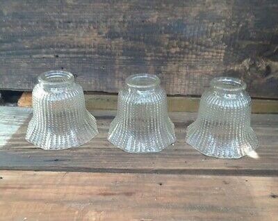 Set Of 3 Vintage Slip Shade Glass Wall Sconce Light Covers