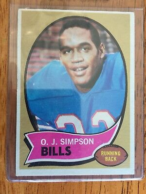 1970 Topps Oj Simpson Rookie Card Poor Condition Vintage