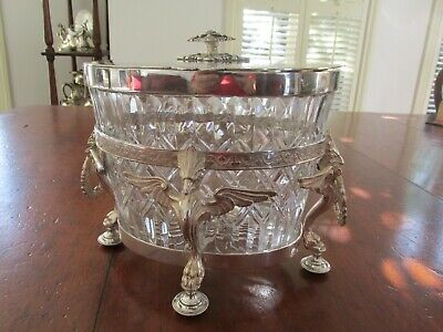 Superb Antique Crystal and Silver Plate Biscuit Holder with Phoenix and Laurel