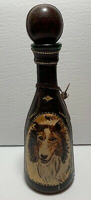 Vtg Leather Wrapped Wine Liquor Decanter Bottle Eaton Italy Hunting Dogs Collie