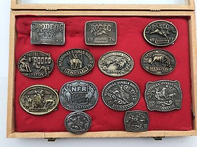 Lot Of 13 Vintage Hesston Belt Buckles ( Some Very Rare ) National Finals Rodeo