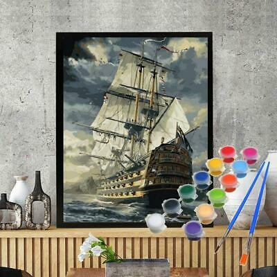 40*50CM DIY Acrylic Paint By Number Kit Oil Painting Wall Decor On Canvas Boat