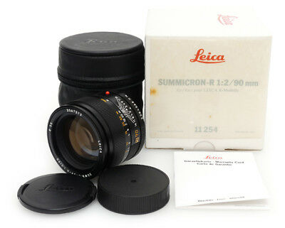 Leica Summicron-R 90mm F2 E55 3 Cam Lens. Leitz UVa Filter Case Box For Leica R